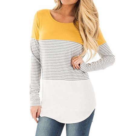 LELINTA Women's Casual Color Block Striped T-Shirt Long Sleeve Tunic Tops Blouses with Hem Yellow Plus Size S-2XL (Color Block Tunic)