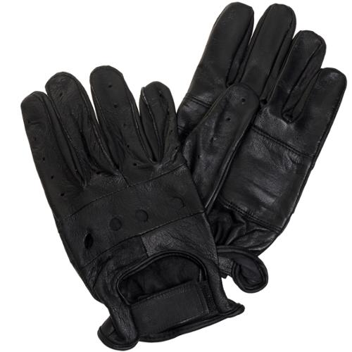 Ross Michaels Men's Thin Leather Driving Gloves w/ Velcro Strap (Black, Large)