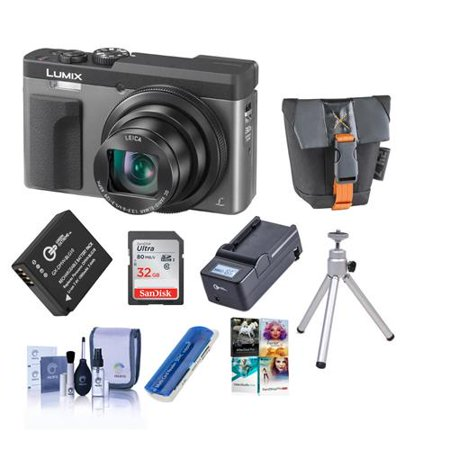 Panasonic Lumix DC-ZS70 Digital Camera, Siver - Bundle With Camera Case, 32GB MicroSDHC Card, Spare Battery, Compact Charger, Cleaning Kit, Card Reade