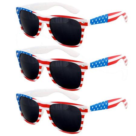 3 Pair USA American Flag Red White Blue Frame Black lens sunglasses classic