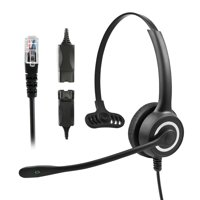 HP128MP QD RJ9 Plug Telephone Operator Office Headsets with Microphone Single Ear Earphone for Telephone Set Noise canceling headphones(Black)(new listing)
