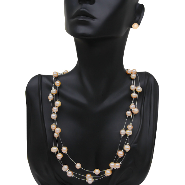 """18"""" 3-Row Peach Genuine Cultured Freshwater Pearl Necklace Earring Set"""
