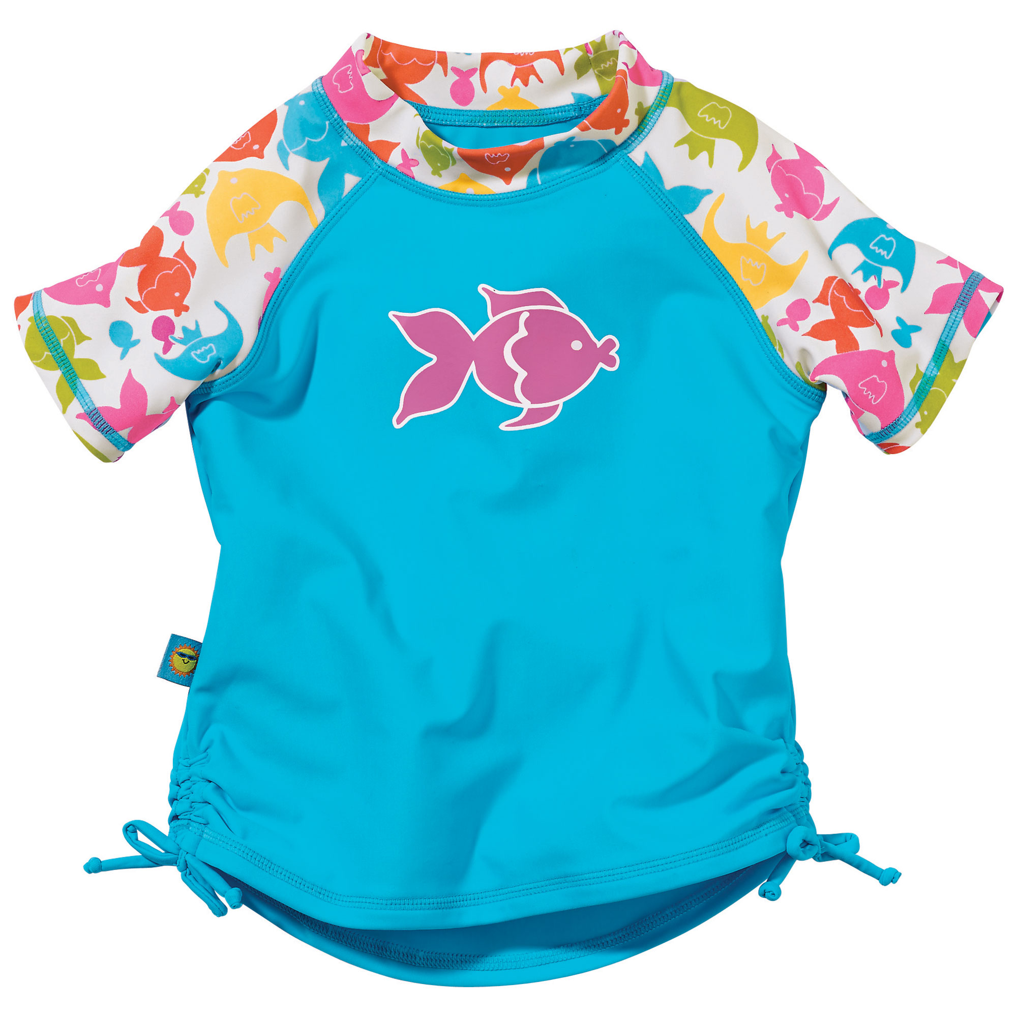 Sun Smarties Baby Girl Rashguard - Blue Tropical Fish Design - UPF 50+ Short Sleeve Sealife Theme