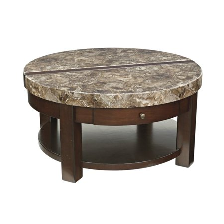 Bowery Hill Round Lift Top Coffee Table in Dark Brown ...