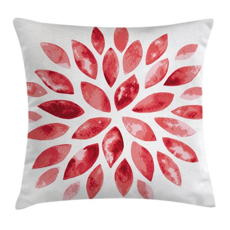 - Floral Throw Pillow Cushion Cover, Watercolor Style Flower Buds Petals Nature Beauty Blossom Artistic Boho Flourish Print, Decorative Square Accent Pillow Case, 18 X 18 Inches, Ruby Red, by Ambesonne