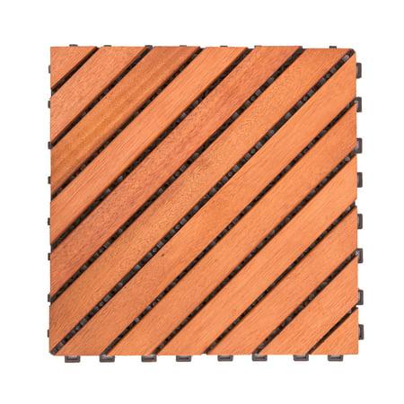 Eucalyptus Deck (12 Diagonal Slat Eucalyptus Interlocking Deck Tile)