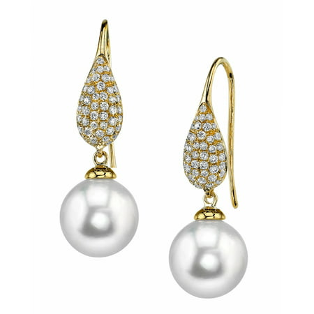 - 18K Gold 9mm White South Sea Cultured Pearl & Diamond Brooklyn Earrings