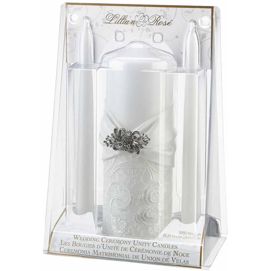 White Lace Candle Set