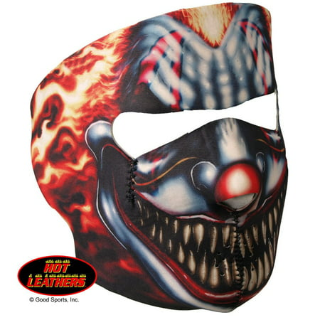 Officially Licensed, Bikers Full Protection SMOKING CLOWN NEOPRENE FACE MASK, with Velcro Back Closure (Paint Your Face Clown)
