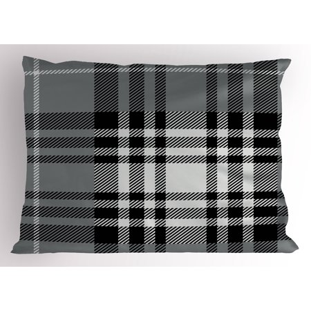 Checkered Pillow Sham Old Fashioned Plaid Tartan in Dark Colors Classic English Tile Symmetrical, Decorative Standard Size Printed Pillowcase, 26 X 20 Inches, Grey Black White, by Ambesonne (Plaid Standard Sham)