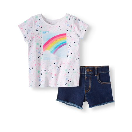 Graphic T-Shirt & Twill or Denim Shorts, 2pc Outfit Set (Toddler Girls) (Caesar Outfit)