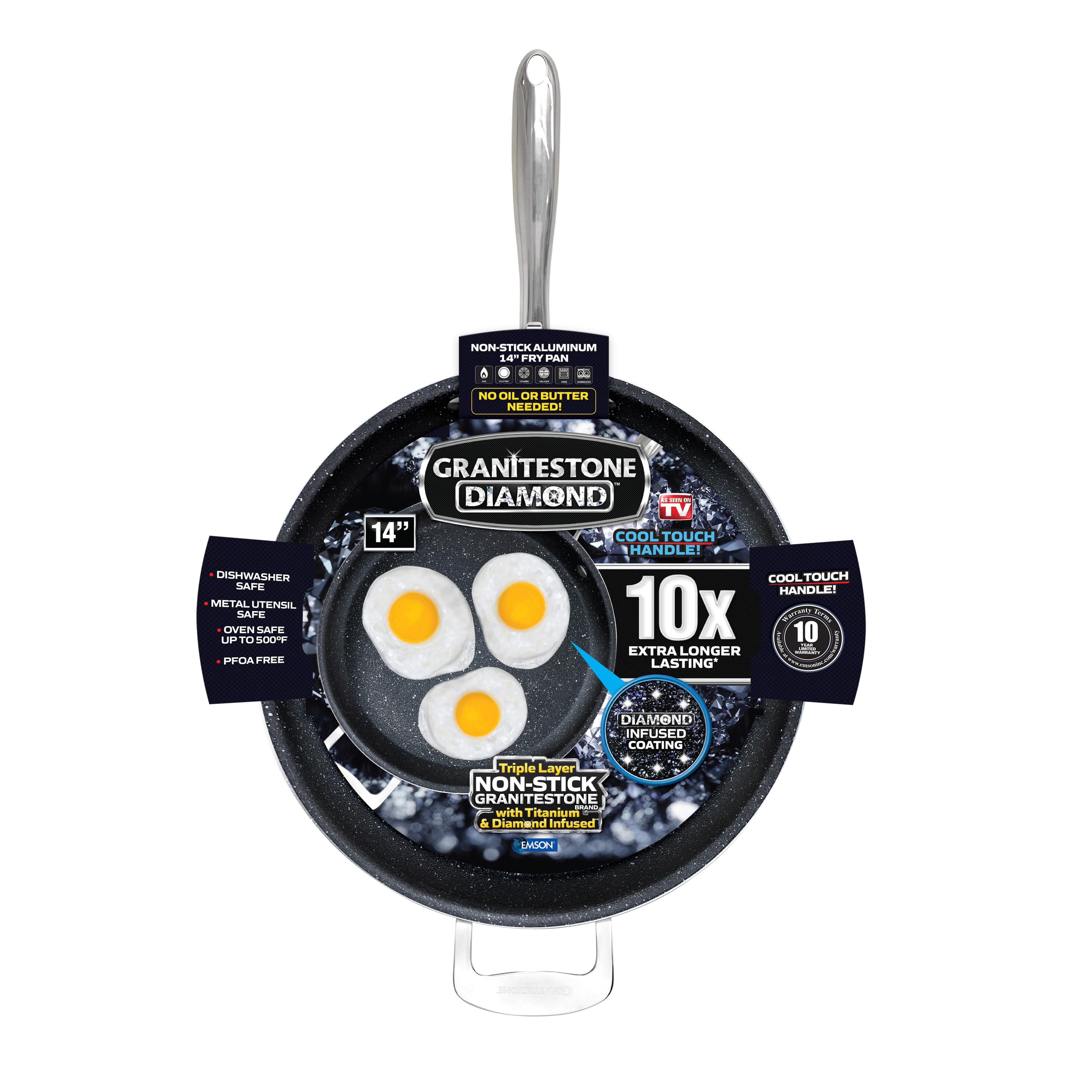 Granitestone 14 inch Fry Pan with Lid 14 Black