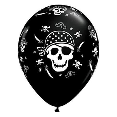 Qualatex Pirate Skull & Cross Bones Biodegradable Latex Balloon,11-Inch Round (10-Units) - Latex Cross