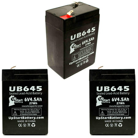 3x Pack - Technacell TC645 Battery Replacement - UB645 Universal Sealed Lead Acid Battery (6V, 4.5Ah, 4500mAh, F1 Terminal, AGM, SLA) - Includes 6 F1 to F2 Terminal Adapters - image 4 of 4