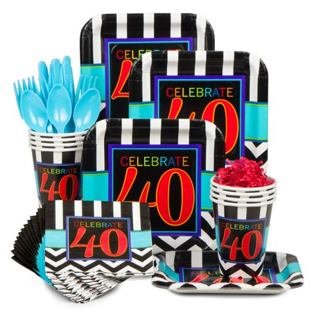 Chevron mix 40th birthday standard kit serves 8 party for 40th birthday decoration packs