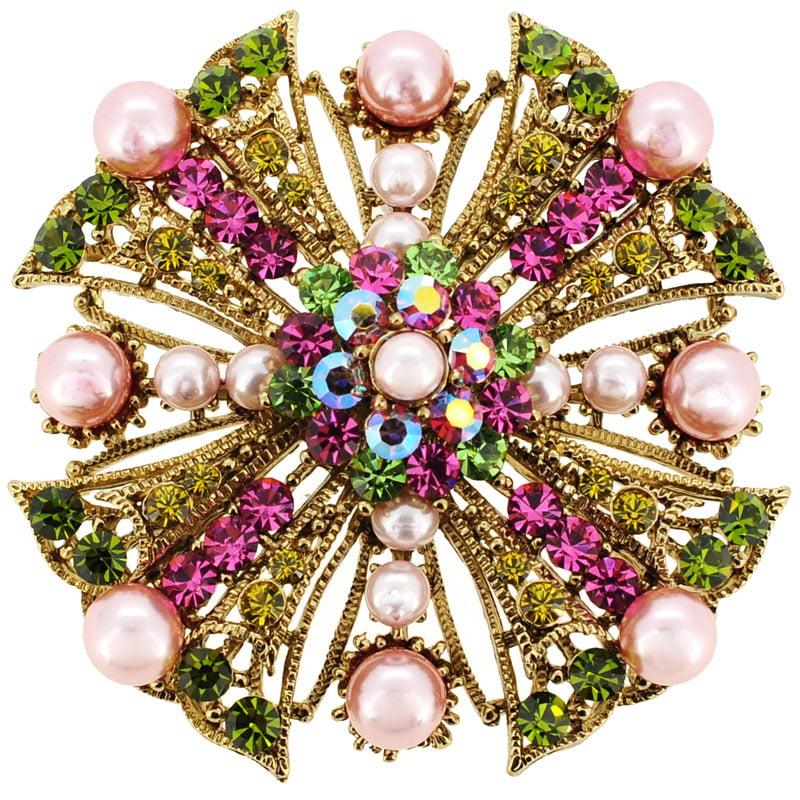 Pink Flower Wedding Swarovski Crystal Pin Brooch and Pendant by