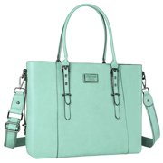 Mosiso Laptop Tote Bag (Up to 15.6 Inch) Water Resistant PU Leather Large Capacity with Padded Compartment Business Work Office Shoulder Briefcase Handbag Compatible MacBook & Notebook