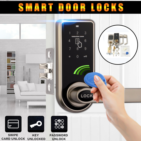 Smart Digital Electronic Code Keyless Keypad Security Entry Door Lock L Handle +11 RFID Card Key Tag Valiant Keyless Entry