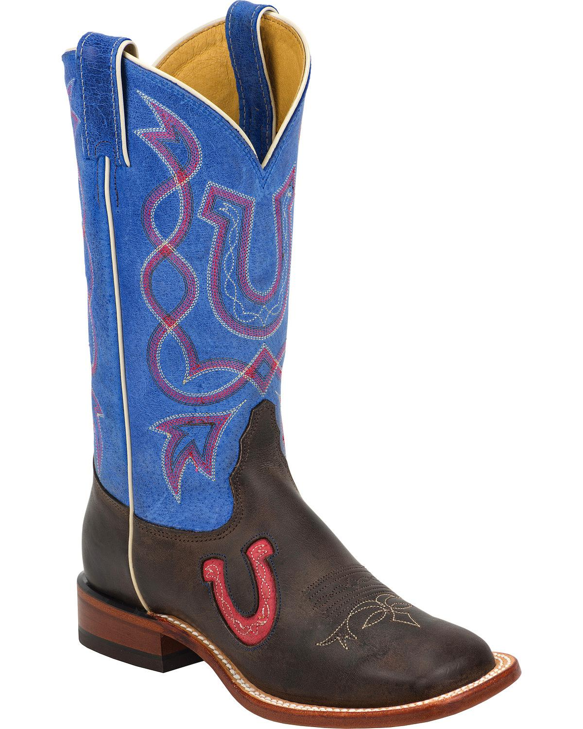 Tony Lama Women's Blue And Chocolate Americana Cowgirl Boot Square Toe Tc1009l by Tony Lama