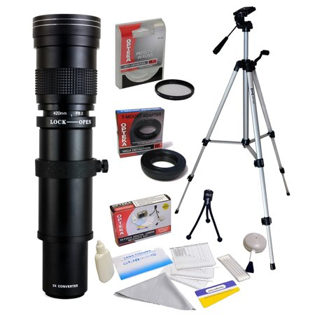 Opteka 420-1600mm f/8.3 HD Telephoto Zoom Lens with UV Filter and 54