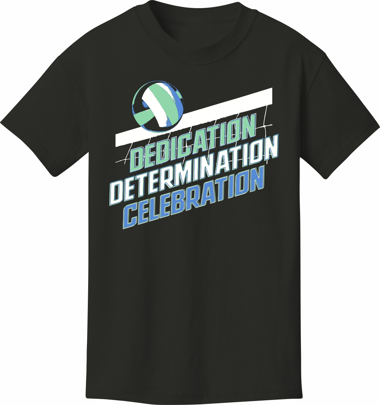 Volleyball T Shirt Dedication Determination Celebration Volleyball
