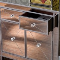 Southern Enterprises Mirage Mirrored Cabinet, Multiple Colors