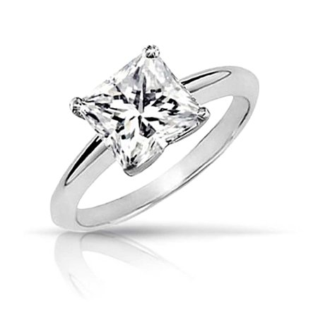 Simple 3 CT Square Brilliant Princess Cut AAA CZ Solitaire Engagement Ring Thin Band 925 Sterling Silver For Women