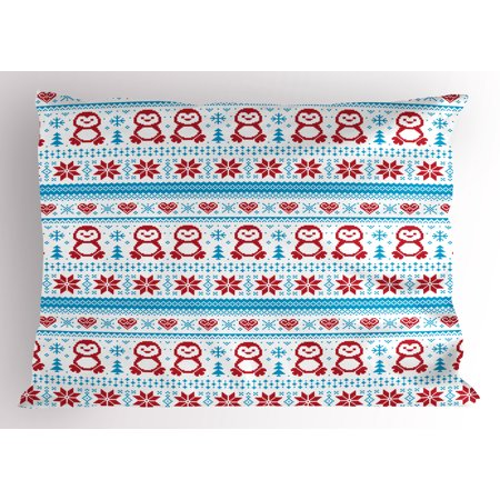 Nordic Pillow Sham Ornate Penguins with Hearts Abstract Nature Elements Trees Snowflakes, Decorative Standard Size Printed Pillowcase, 26 X 20 Inches, Ruby Pale Blue White, by Ambesonne