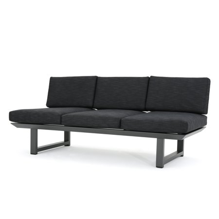 - Bonnie Outdoor Rust-Proof Aluminum 3 Seater Sofa with Weather Resistant Cushions, Grey Finish and Dark Grey