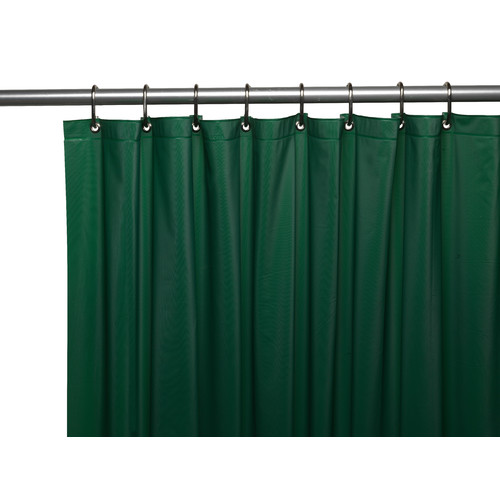 3 Gauge Vinyl Shower Curtain Liner w/ Weighted Magnets and Metal Grommets in Evergreen