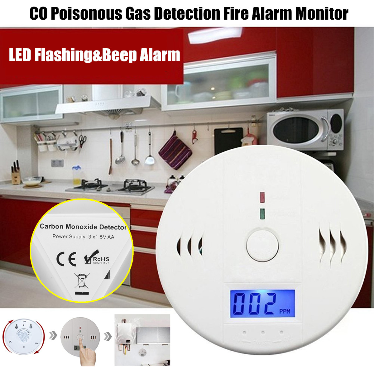 Digital LCD Display for CO Level CO Carbon Monoxide Sensor Alarm Alert Detector Tester Monitor Poisonous Gas Detection Fire Sound Light Alarm Warning