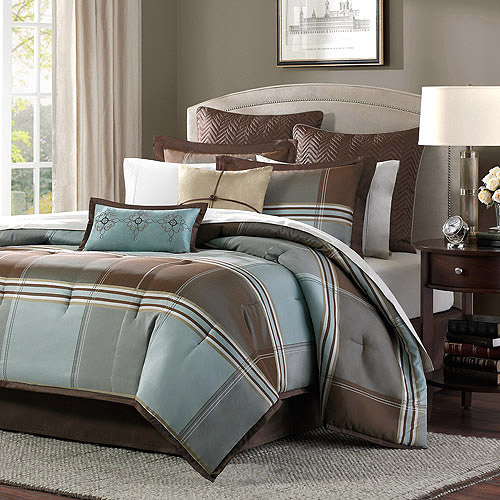Home Essence Daniel 8-Piece Comforter Set, Blue/Brown