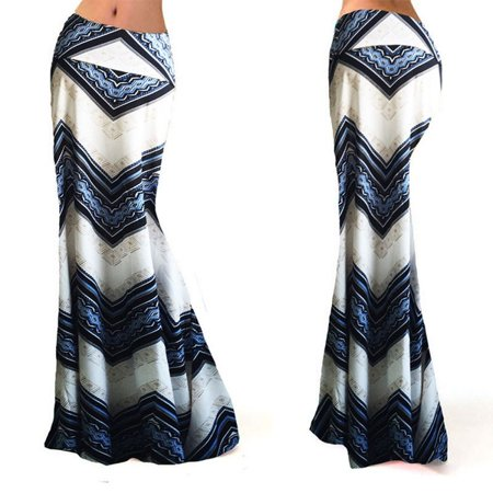 The Noble Collection Women Long Gypsy High Waist Maxi Skirts Stretch Full Length Skirt Dress Oversize ()