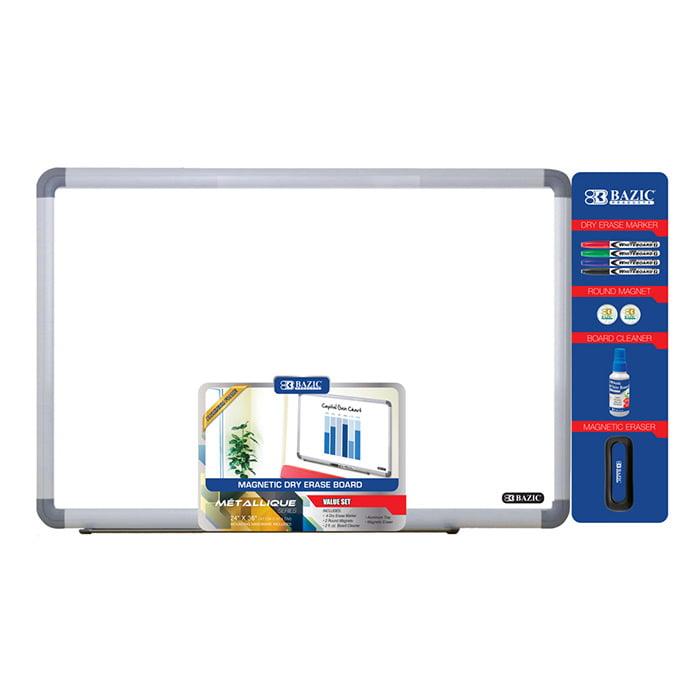 "BAZIC 24"" x 36"" Aluminium Frame Magnetic Dry Erase Board Value Pack, Case of 4"