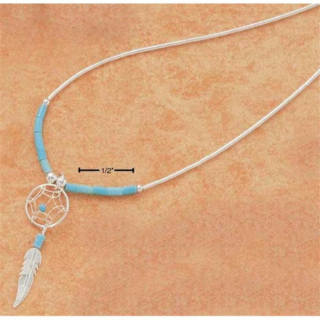 Plum Island Silver NK-0077 Sterling Silver 20 Inch Small Dreamcatcher Necklace With Feather And Turquoise Heishi