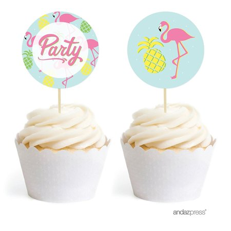Birthday DIY Cupcake Toppers Party Favors Kit, Pink Flamingo and Pineapple Party, 20-Pack - Birthday Cupcake