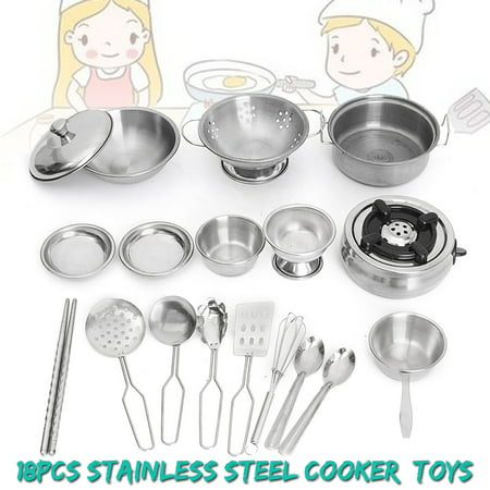 18Pcs Stainless Steel Kitchenware Pretend Role Play Chef Game Tools Set Kitchen Cooker Cooking Pot Pans Toys Kids Children Christmas Birthday Gift Gift Set Pot