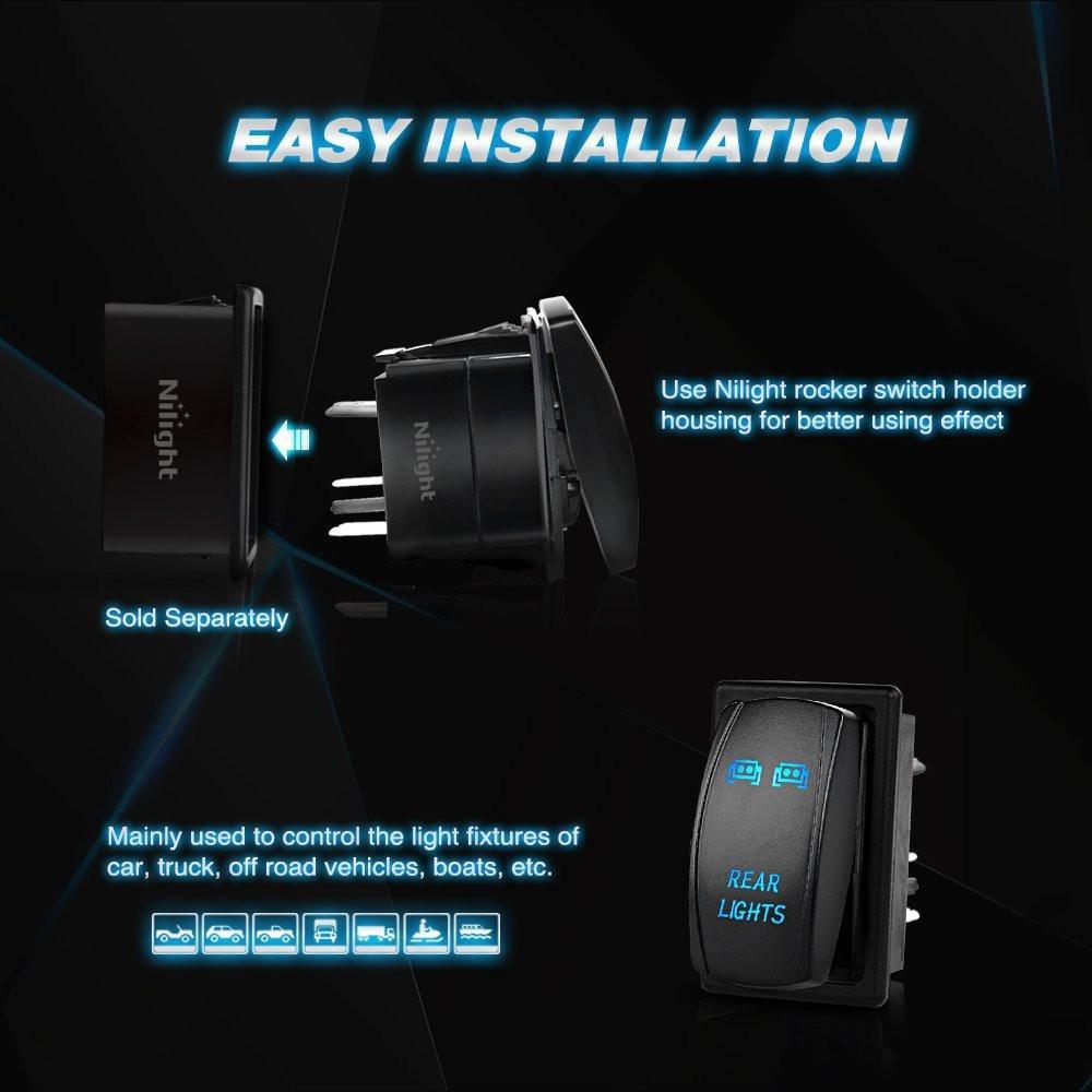 Nilight 90001B LED Light Bar Rocker Switch 5Pin Laser On//Off LED Light 20A//12V 10A//24V Switch Jumper Wires Set for Jeep Boat Trucks,2 Years Warranty