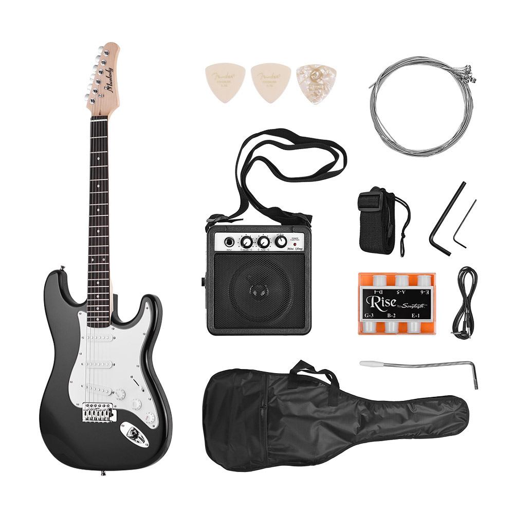 Muslady Electric Guitar Solid Wood Paulownia Body Maple Neck 21 Frets 6 String with Speaker Pitch Pipe Guitar Bag Strap Picks Right Hand