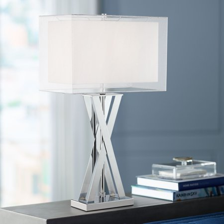 Possini Euro Design Modern Table Lamp Chrome Metal X-Shaped Base ...