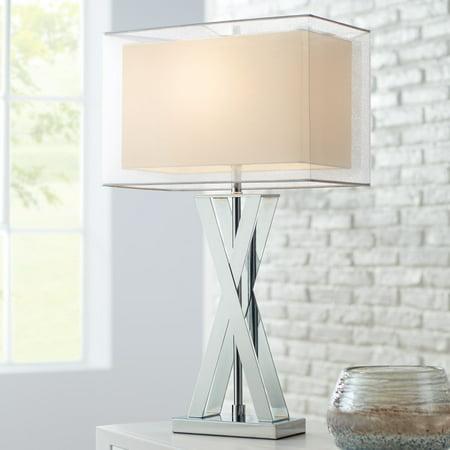 Possini Euro Design Modern Table Lamp Chrome Metal X-Shaped Base  Rectangular Double Shade for Living Room Family Bedroom Bedside