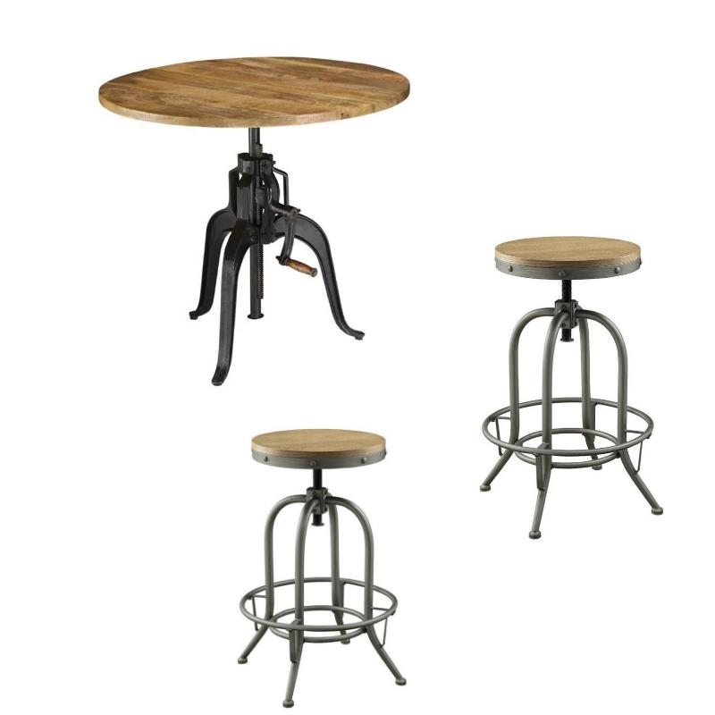 Set of 3 Adjustable Metal and Natural Wood Pub Dining and Stool