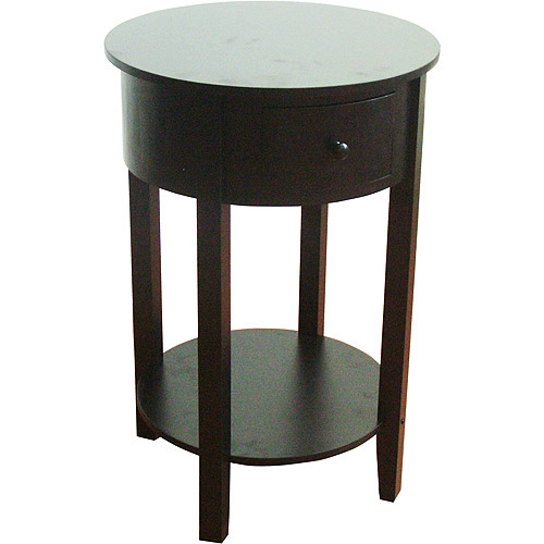 Round End Table with Drawer, Black