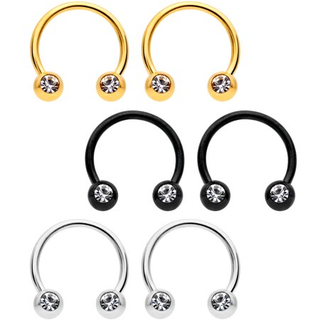 Body Candy 14G Nipplerings Piercing PVD Steel Variety 6Pc Clear Accent BCR Captive Nipple Ring Set 3/8
