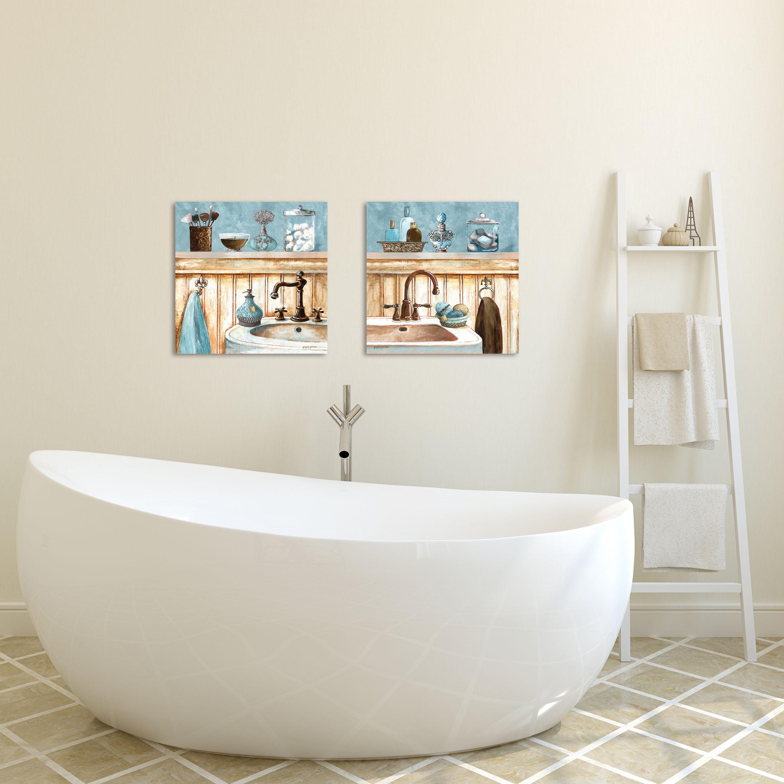 Gango Home Decor Classic Bathroom Wall Art Two Blue 12x12in Unframed Paper Prints Walmart Com Walmart Com