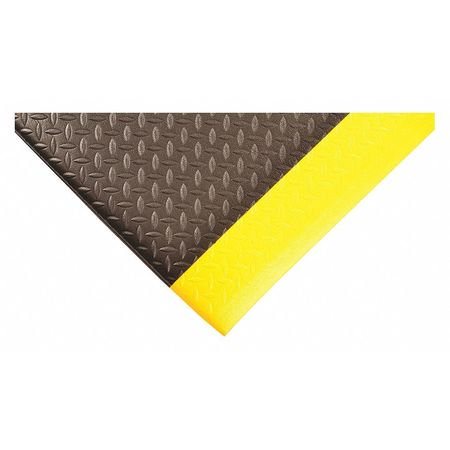 Condor 2057009032x3 Black with Yellow Border Closed Cell Vinyl Foam Antifatigue Mat