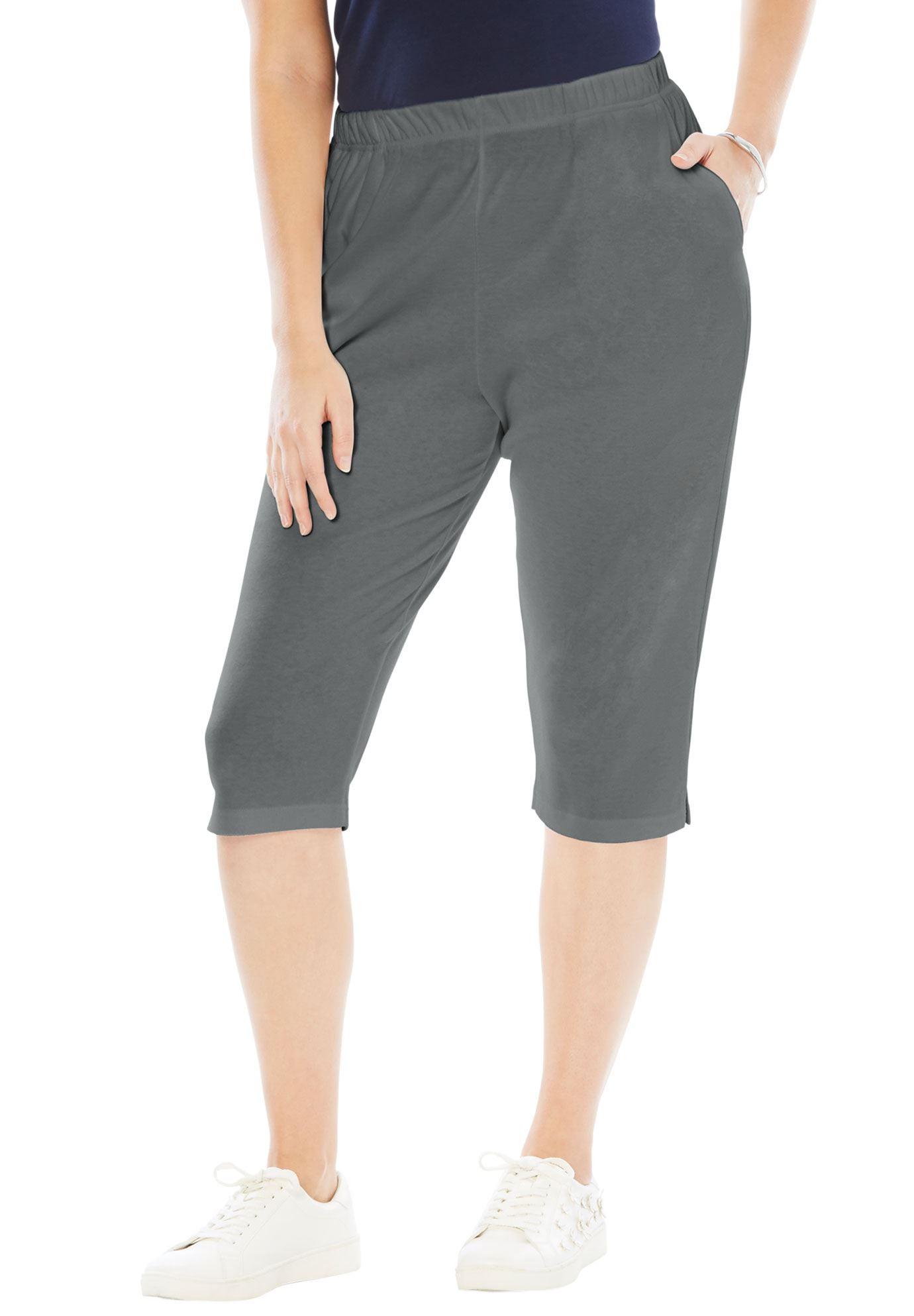 Roaman's Plus Size Soft Knit Capri Pant