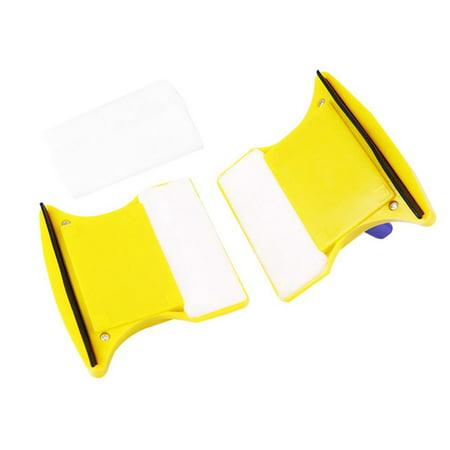 Fancyy Magnetic Window Double Side Glass Wiper Cleaner Cleaning Brush Pad Scraper Yellow & blue - image 1 de 13