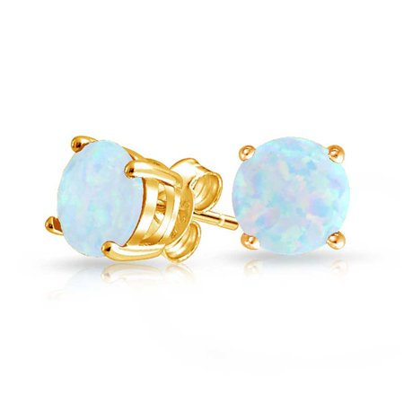Simulated White Opal October Birthstone Stud Earrings Gold Plated 6mm