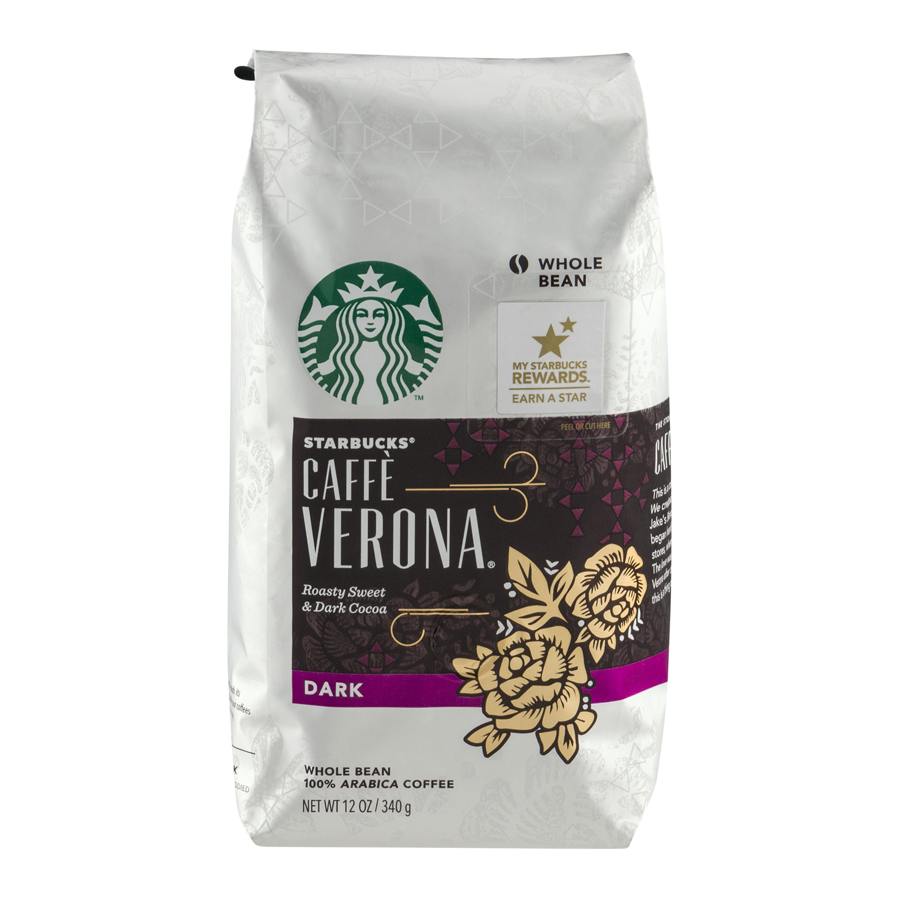 Starbucks Caffe Verona Whole Bean Arabica Coffee Dark, 12.0 OZ